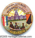 "Political:Pinback Buttons (1896-present), EXTREMELY RARE AND SOUGHT-AFTER ""I WOULD ROW WILSON AND MARSHALL..."