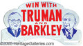 Political:3D & Other Display (1896-present), RARE TRUMAN-BARKELY JUGATE LICENSE PLATE. Has had some skillful ...