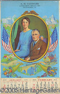 Political:Advertising, GORGEOUS FRANKLIN ELEANOR ROOSEVELT ADVERTISING CALENDAR. Large ...