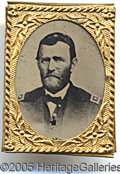 Political:Ferrotypes / Photo Badges (pre-1896), U.S. GRANT FERROTYPE GEM BADGE.
