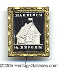 Political:Ferrotypes / Photo Badges (pre-1896), VERY CHOICE 1840 W.H. HARRISON SULFIDE BROOCH IN RARE VERTICAL S...