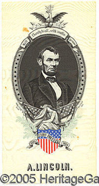 "MASSIVE LINCOLN MOURNING RIBBON. FONT face=""Courier New"" FONT face=Arial 5 x 10"" multicolored woven ribbo..."