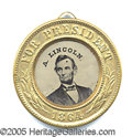 Political:Ferrotypes / Photo Badges (pre-1896), LINCOLN JOHNSON FERROTYPE BADGE.