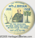 "Political:Ribbons & Badges, RARE LARGE 1 1/2"" SIZE 1908 BRYAN ""TREE OF LIFE,"" IN SUPERB C..."