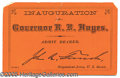 "Political:Small Paper (pre-1896), R.B. HAYES INAUGURAL TICKET. 4 3/4 X 3"" ticket on orange, coated..."