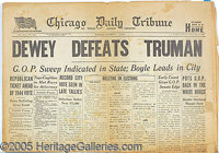 "CLASSIC DEWEY DEFEATS TRUMAN NEWSPAPER. FONT face=Arial Complete issue of the November 3, 1948 ""Chicago Daily Tribu..."