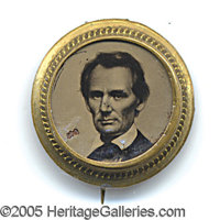 RARE SMALL, ROUND 1860 LINCOLN FERRO. With original pin on reverse.  Fancy beaded brass shell frame, classic &q...