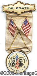 Political:Ribbons & Badges, RARE, COLORFUL 1904-DATED TR-FAIRBANKS JUGATE BADGE. Brass rimme...
