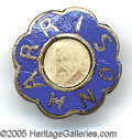 Political:Ferrotypes / Photo Badges (pre-1896), UNUSUAL BENJAMIN HARRISON LAPEL STUD. Scalloped blue enamelled b...