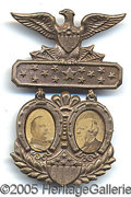 Political:Ferrotypes / Photo Badges (pre-1896), 1888 CLEVELAND-THURMAN JUGATE. Great shape, and hard to find com...
