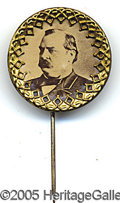 Political:Ferrotypes / Photo Badges (pre-1896), CHOICE LARGE PAIR OF 1888 OR 1892 HARRISON CLEVELAND STICKPINS. ...