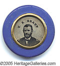 Political:Ferrotypes / Photo Badges (pre-1896), SCARCE 1868 GRANT /COLFAX FERROTYPE. Bright blue border and in c...