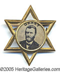 Political:Ferrotypes / Photo Badges (pre-1896), FANCY GRANT FERROTYPE. Set into openwork brass star, with origin...