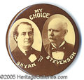 "Political:Pinback Buttons (1896-present), ELEGANT SEPIA BRYAN-STEVENSON, IN EXTREMELY RARE LARGE 1 3/4"" SI..."