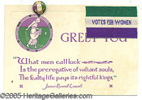 VOTES FOR WOMEN SOCIAL AND POLITICAL UNION CARD AND BUTTON. An unusual and rare piece with a button to match. The card w...