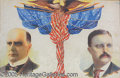 Political:Posters & Broadsides (1896-present), RARE MULICOLOR 1900 MCKINLEY-TR CAMPAIGN POSTER. Auction reco...