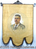 Political:Textile Display (1896-present), SUPERB LARGE, 1900-DATED TR CAMPAIGN BANNER.. Made for his Vi...
