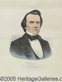 "VERY SCARCE LARGER-SIZE 1860 STEPHEN DOUGLAS CAMPAIGN POSTER BY CURRIER. The ""medium folio"" variety, 13 x 17&q..."
