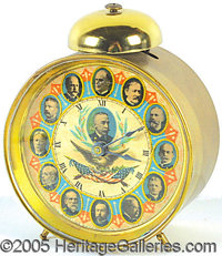 COLORFUL MCKINLEY AND ROOSEVELT BRASS ALARM CLOCK. P McKinley at 12:00, with various Spanish American War heroes, includ...
