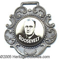 """Political:Miscellaneous Political, FDR CELLULOID FOB. Silvered metallic fob with encased 7/8"""" black..."""