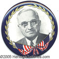 """Political:Pinback Buttons (1896-present), LARGE TRUMAN BUTTON. 3 1/2"""" multicolored celluloid picture pin o..."""