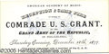 "Political:Small Paper (pre-1896), GRANT RECEPTION TICKET.  5 1/4 x 2 1/2"" black and blue tick..."