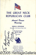 "Autographs:Statesmen, SIGNED NELSON ROCKEFELLER PROGRAM. 5 1/2 X 8 1/2"" red, white and..."