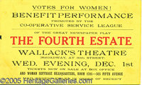 """WOMEN'S SUFFRAGE PERFORMANCE BENEFIT TICKET. 5 1/2 x 3 1/4"""" red, black and yellow pasteboard ticket for a Benefit P..."""