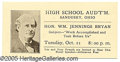 """Political:Small Paper (1896-present), BRYAN LECTURE TICKET. 4 x 2"""" pictorial ticket for a speech of Wi..."""
