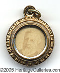 Political:Ferrotypes / Photo Badges (pre-1896), NICE 1884 BLAINE CHARM. Logan picature on reverse.  Fine sh...