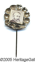 Political:Ferrotypes / Photo Badges (pre-1896), ATTRACTIVE, FANCY BENJAMIN HARRISON STICK PIN. Great condition, ...