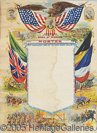 """TWO COLORFUL WWI POSTERS. P One with Pershing at top, the other with Wilson. Each 17x23"""", good shape but..."""