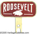 Political:3D & Other Display (1896-present), FDR LICENSE PLATE. Pleasing red with reflector background and...