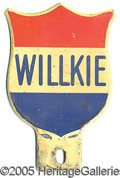 Political:3D & Other Display (1896-present), UNCOMMON WILLKIE-LICENSE PLATE. Unusual RWB variety in Excell...