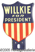 Political:3D & Other Display (1896-present), WILLKIE LICENSE PLATE. Colorful RWB shield-shaped attachment....