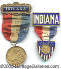 Political:Ribbons & Badges, TWO INDIANA REPUBLICAN NATIONAL CONVENTION BADGES. 1912, choice ...