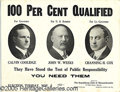 Political:Posters & Broadsides (1896-present), RARE EARLY CALVIN COOLIDGE FOR MASS. GOVERNOR CARDBOARD POSTER. ...