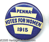 SUFFRAGE PIN. Blue and white, classic Suffrage pin with Pennsylvania keystone