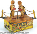Antiques:Toys, KNOCK-OUT PRIZE FIGHTERS WINDUP TIN TOY. Super lithographe...