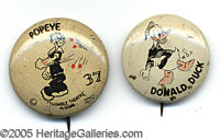 COMIC PINBACKS - POPEYE AND DONALD DUCK PEANUT BUTTER. P Two different lithographed tincartoon character pinba...