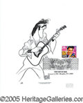 Autographs:Celebrities, SIGNED HIRSCHFELD CARICATURE OF ELVIS. ...