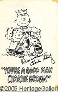 "Autographs:Artists, CHARLES SCHULTZ AUTOGRAPHED PLAYBILL COVER. 5-3/4"" by 9"" cover o..."