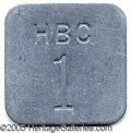 Antiques, HUDSON'S BAY COMPANY TAG. Aluminum tag, 43 mm. square, with impr...