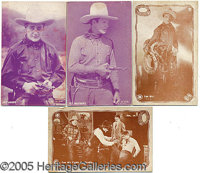 NICE LOT OF 4 EARLY TOM MIX 1929 MOVIE PROMO CARDS. This grouping is a nice lot of 4 promo cards dated 1929. The cards s...