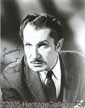 "Autographs:Celebrities, VINCENT PRICE SIGNED PHOTO. (8 x 10"" black & white portra..."