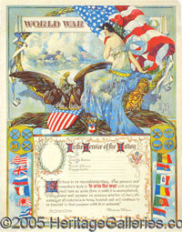 RICH COLORFUL WWI POSTER. To be filled in with name and service record of soldier, with message below from President Wil...