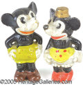 Entertainment Collectibles:Comic Character, 1930'S MICKEY AND MINNIE BISQUE PAIR. This pair is in excellent ...