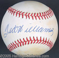 Miscellaneous, TED WILLIAMS SIGNED BALL. This catalog entry is a suitable site ...