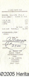 Miscellaneous, JOE DIMAGGIO SIGNED COUNTRY CLUB RECEIPT. A very nice signature ...