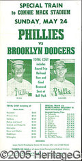 "Miscellaneous, DODGERS-PHILLIES TRAIN TICKET FLYER. This 6 x 11 3/4"" handbil..."